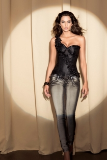 Black Satin Waist Training Corset With Diagonal One-Shoulder Rose Sash, Ruched Trim and Underwired Cups