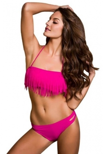Captivating Fuchsia Two Piece Swimwear Fine Strips Threadlike Cup Design Gorgeous Small Cuts Front SideLower Piece