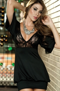 Little Black Dress With Lace Bust and Underbust, Short Bell Sleeves and Tight Hem