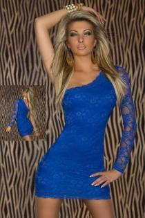 Bright Blue One-Shoulder Lace Bodycon Clubwear Mini Dress With Sexy Semi-Sheer Arm