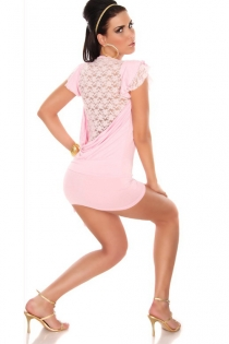 Baby Pink Cap-Sleeved Clubwear Mini Dress With Stretch Fit and Lace Plunge Back