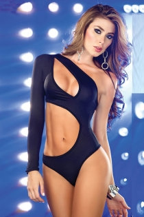 Solid Black Long Sleeve One-Shoulder Teddy With Large Cut-out Details Across the Bust and Stomach