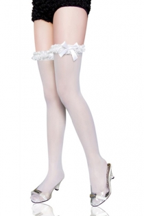 Semi-Sheer White Thigh-High Stockings With Lacy Garters and Satin Side Bows