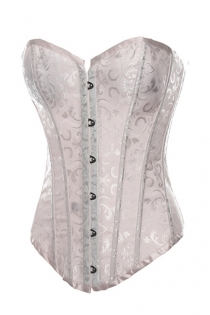 White Satin Corset With Swirling Brocade Pattern and Trim, Front Busk