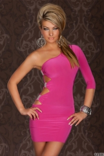Pink Bodycon Mini Dress, One-shoulder With 3/4 Sleeve and Cut-out Sides Studded With Rhinestones