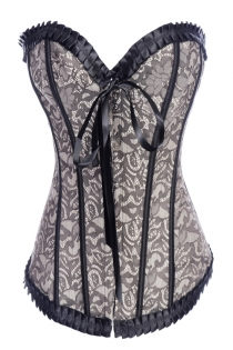 Grey Victorian Corset With Floral Lace Print and Black Ruched Ribbon Trim and Strips, Front Busk