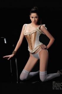 Burlesque White Corset With Polished Brass Front Panels, Combination Ruffle Trinm and Ribbon Straps, Front Busk