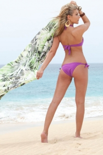 Solid Purple Halter-style Bikini Swimsuit With Gold Bust Accent, Back Tie on Top, and Side Ties on Bottoms