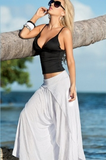 Airy Summer White Pants With Elastic Waist, Wrap Cross-over Hem and Extra Wide Legs