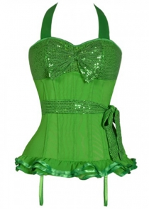 Green Corset With Sequin Bust and Waist Tie and Ruffle Trim