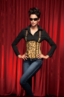 Brown Patterned Corset With Brace Strap Feature and Front Fasten Busk