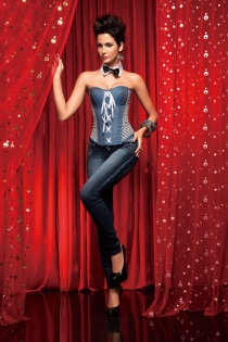 Pale Blue Denim Strapless Corset With Side Feature and Lace Up Frontage