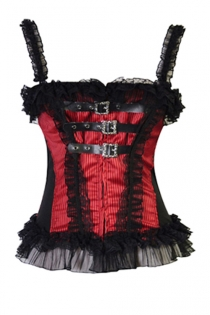 Red Striped Ovebust Corset With Front Leather and Steel Buckle Detailing and Ruffles