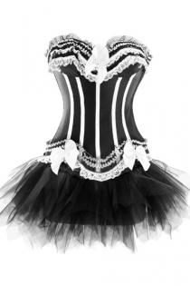 Black Sateen Strapless Corset Dress With White Frill Detailing and Tutu Net Mini Skirt