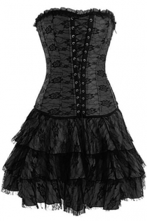 Black Strapless Corset Dress With Net Overlay and Trio Tiered Skirt