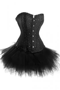Strapless Corset Dress in Black With Diamante Studding and Tutu Net Mini Skirt