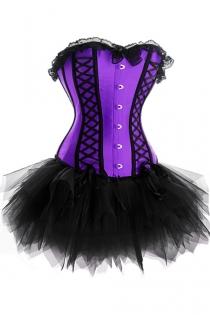 Purple Sateen Strapless Corset Dress With Black Detailing and Tutu Net Mini Skirt