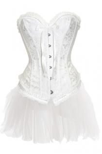 Dainty White Strapless Corset Dress With Petite Gather Trim and Tutu Net Mini Skirt