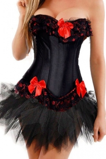 Black Strapless Corset Dress With Red Trim and Bow Detailing and Tutu Net Mini Skirt