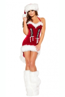 Red Halter-style Christmas Dress With White Fur Trim, Lace-up Detailing on Front, Knee-length Train, and Santa Hat