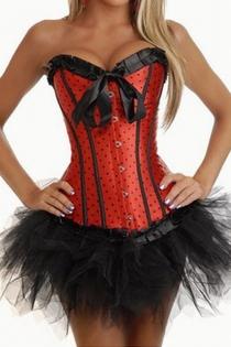 Red Polka Dot Strapless Corset Dress With Tutu Net Mini Skirt