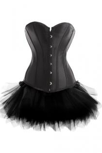 Strapless Mini Corset Dress in Black With Tutu Net Mini Skirt