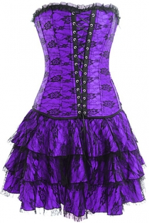 Purple Strapless Corset Dress With Net Overlay and Trio Tiered Skirt
