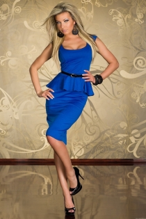Blue Fitted Sleeveless Club Dress With Low-cut Scoop Neck, Ruffled Waist, and Black Vinyl Belt