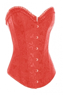 Red Steel Boned Overbust Corset With Floral Jacquard Print and Satin Ruffled Trim