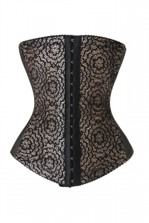 Black and White Firm Compression Underbust Waist Cincher Shapewear With Lace Overlay