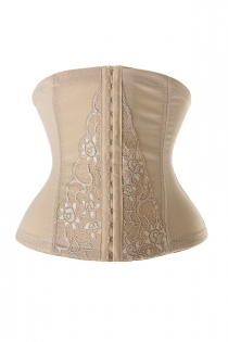 Beige Firm Compression Underbust Waist Cincher Shapewear With Floral Lace Front