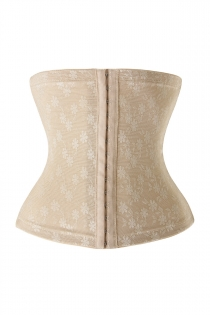 Nude Elastic Jacquard Mesh Underbust Waist Cincher Shapewear With Floral Print