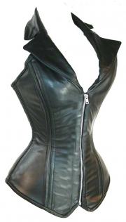 Black Leather Halter-style Corset With Zipper Front, Lace-up Back, Buckle Neck Strap, and Notch Lapel