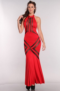 Long Red Halter-style Gown With Flared Skirt and Black Sheer Accents Across the Thighs and Bust