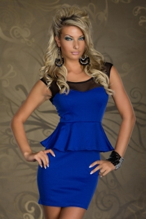 Blue Mini Club Dress With Flared Waist, Heart-cut Bust, and Sheer Black Neckline and Straps
