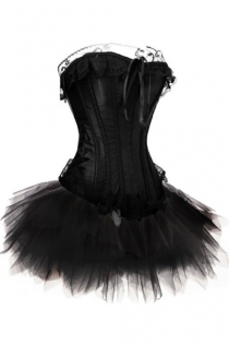 Strapless Black Corset Dress With Stand Up Lace Trim and Tutu Net Mini Skirt