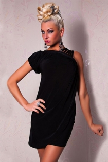 Black Loose-fitting Tunic Mini Club Dress With Multi-string Shoulder Straps