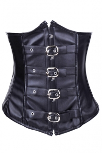 Black PVC-Style Strapless Corset With Metal Poppers and Silver Buckled Waist