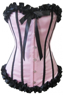 Powder Pink Victorian Satin Corset With Black Ruched Ribbon Trim, Strips and Bow, Front Busk