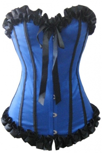 Blue Victorian Satin Corset With Black Ruched Ribbon Trim, Strips and Bow, Front Busk