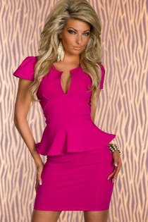 Solid Pink Short Sleeve Mini Dress With Ruffled Waistline Trim and Plunge Neckline
