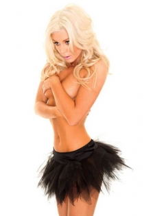 Playfully Charming Sheer Nicely Cut Lace Mini Skirt With Glossy Solid Dark Waist Line