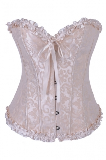 Elegant Pale Pink Brocade Strapless Corset With Delicate Ribbon Trim and Zip Front