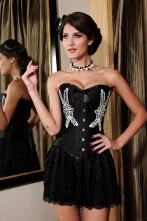Black Front Busk Closure Overbust Corset With White Flower Prints on Bodice
