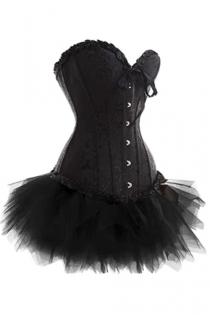 Black Strapless Corset Dress With Inlay Pattern and Tutu Net Mini Skirt
