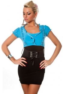 Combo Bodycon Dress With Black Skirt With Belt and Blue Ruffle Shirt With Puff Sleeves