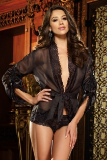 Sheer Black Long Sleeved Robe With Floral Lace Trim, Ruched Sleeves, and Belt