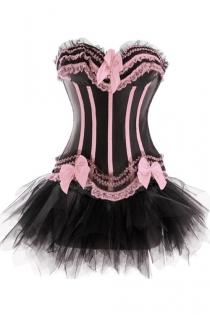 Black Sateen Strapless Corset Dress With Sugar Pink Detailing and Tutu Net Mini Skirt