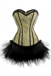 Luxurious Strapless Corset Dress in Patterned Green With Black Tutu Net Mini Skirt