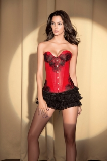 Dusky Red Corset With Black Lace Print at Bust and Sides and Underwired Cups, Front Busk